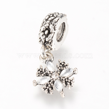 Alloy European Dangle Beads, with Rhinestones, Snowflake, Large Hole Pendants, Antique Silver, 27.5mm, Hole: 5mm(X-MPDL-S055-03)