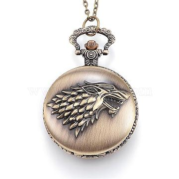 Carved Alloy Flat Round Pendant Necklace Quartz Pocket Watch, with Iron Chains and Lobster Claw Clasps, Antique Bronze, 32.67''(83cm)(WACH-P006-05)