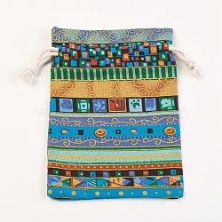 sacs d'emballage en coton et lin, sacs à cordonnet, coloré, 14x10 cm(ABAG-WH0017-06D)