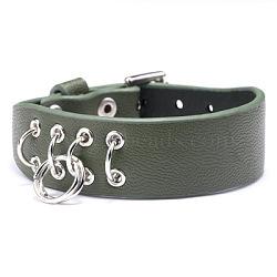 """Bracelets de montre en cuir d'unité centrale réglables, avec les accessoires en alliage, des anneaux de fer, vert de l'océan profond, 8-5/8"""" (22cm); 19mm(WACH-F053-A05)"""