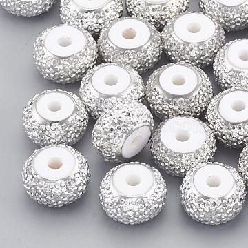12mm White Rondelle Resin+Rhinestone Beads
