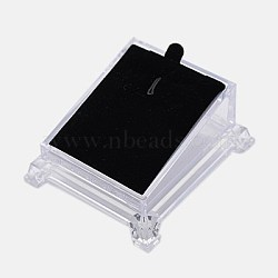 Plastic Pendant Necklace Displays, with Velvet, for Pendants, Black, 81x72x40mm(X-PDIS-G001-01)