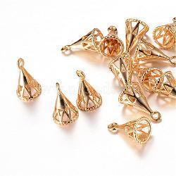 Pendentifs en laiton, pour la moitié de perles percées, or clair, 11.5x6.5x6.5mm, trou: 1 mm; broches: 1 mm(KK-R037-106KC)
