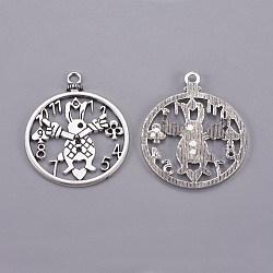 Style tibétain antique ton argent alliage lapin horloge bricolage bijoux pendentif accessoires, sans plomb, 50x41x2mm, Trou: 3mm(X-PALLOY-A18705-AS-LF)