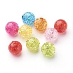 Perles en acrylique transparentes craquelées, rond, couleur mixte, 10mm, Trou: 2mm(X-CACR-R008-10mm-M)