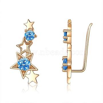 Brass Cubic Zirconia Cuff Earrings, Star, Sky Blue, Champagne YellowGold, 24.5x11.5x10mm(EJEW-BB36358)