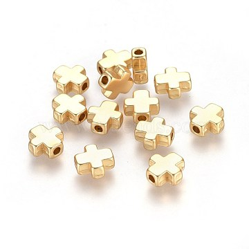 Alloy Beads, Cross, Lead Free & Nickel Free & Cadmium Free, Real 18K Gold Plated, Matte Gold Color, 8.5x8x3.5mm, Hole: 1.5mm(X-TIBEP-S315-44MG-NR)
