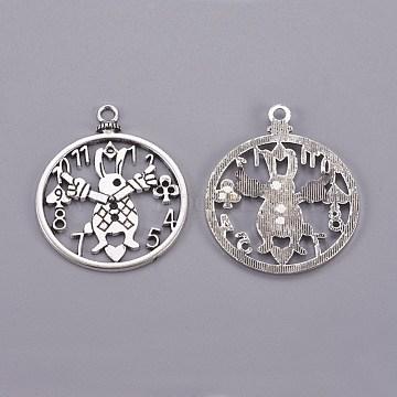 Tibetan Style Antique Silver Tone Alloy Rabbit Clock DIY Jewelry Pendant Accessories, Lead Free, 50x41x2mm, Hole: 3mm(X-PALLOY-A18705-AS-LF)