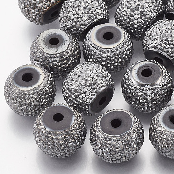 Resin Rhinestone Beads, Rondelle, Gray, 6x5~5.5mm, Hole: 1.8mm(RESI-T020-02A-02)