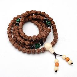 """Bijoux de style bouddhiste enroulés 5-boucle, rudraksha mala perles bracelets / colliers, avec des perles guru à 3 trou (couleur et style aléatoires), tan, 35-1/2"""" (90cm); perle: 8~10mm(BJEW-S125-15)"""