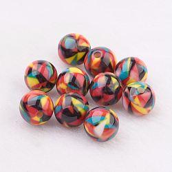 Perles en résine, Avec motif géométrique, rond, colorées, 10mm, Trou: 2mm(GLAA-F049-A03)