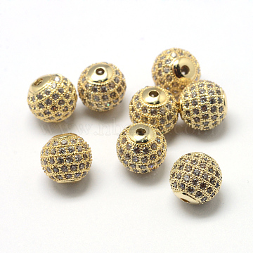 Rack Plating Brass Cubic Zirconia Beads, Long-Lasting Plated, Round, Clear, Golden, 9.5~10x9~9.5mm, Hole: 2mm(X-ZIRC-S001-10mm-A01)