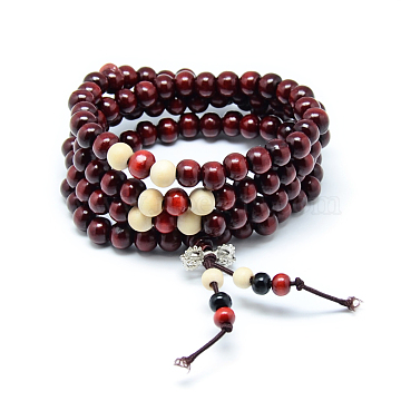 Dual-use Items, Wrap Style Buddhist Jewelry Dyed Wood Round Beaded Bracelets or Necklaces, DarkRed, 720mm(BJEW-R281-52)