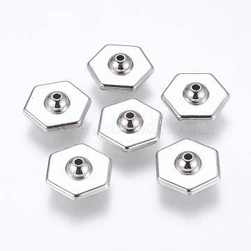 CCB Plastic Beads, Hexagon, Platinum, 17x19x8mm, Hole: 2mm(CCB-K003-44P)