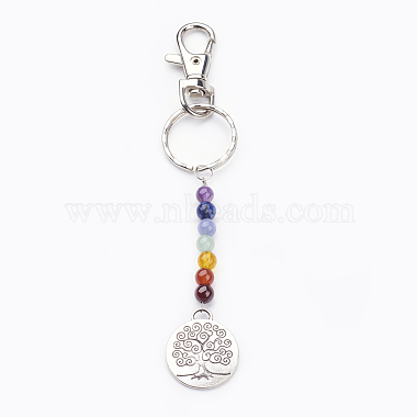 Mixed Color Flat Round Mixed Stone Keychain