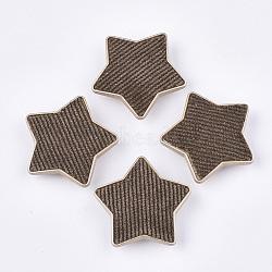 Flocky ccb boutons en plastique, 1-trou, étoiles, coconutbrown, 38x40x9mm, Trou: 3x4.5mm(BUTT-T003-09B)