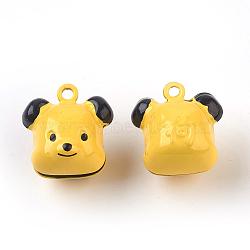 Pendentifs de cloche en laiton, douze signes du zodiaque chinois, chien, 17~25x14~20x12.5~19mm, Trou: 2mm(IFIN-F149-H05)