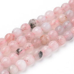 Natural Cherry Blossom Jasper Beads Strands, Faceted, Round, 8~8.5mm, Hole: 1mm; about 47pcs/strand, 15.5inches(X-G-Q462-120-8mm)