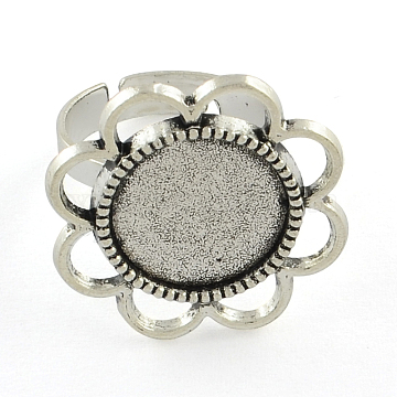 Vintage Adjustable Iron Flower Finger Ring Components Alloy Cabochon Bezel Settings, Cadmium Free & Lead Free, Antique Silver, Flat Round Tray: 14mm; 17mm(X-PALLOY-O036-18AS)