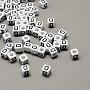 6mm Black Cube Acrylic European Beads(X-SACR-Q103-6mm-01D)