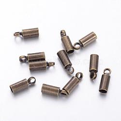 Латуни конце шнура, без никеля , античная бронза, 8x2.8 мм, 2.1 мм внутренним диаметром, отверстие : 1.5 мм(X-KK-H731-AB-NF)