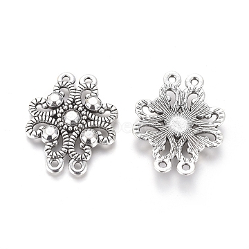 Tibetan Style Alloy Multi-strand Links, Flower, Antique Silver, 24.5x32x3mm, Hole: 1.5mm(PALLOY-G181-12AS-NF)