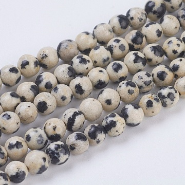 Natural Dalmation Jasper Beads Strands, Round, 4mm, Hole: 1mm, about 43pcs/strand, 7.6 inches(X-G-G515-4mm-06)