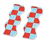 Opaque Resin Cabochons, Two Tone, Wave with Chessboard Pattern, Light Blue, 6.15x2.2x0.2cm