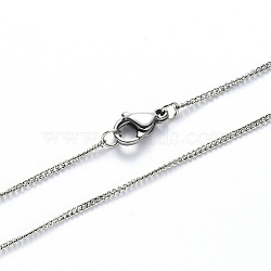 304 Stainless Steel Curb Chain Necklace Making, with Lobster Claw Clasp, Stainless Steel Color, 19.68 inches(50cm), Link: 2x1.8x0.5mm(NJEW-S420-001B-P)
