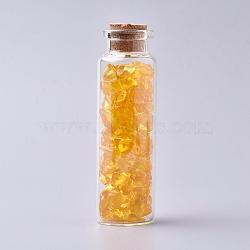 bouteille en verre qui souhaitent, pour la décoration de pendentif, avec perles de copeaux de citrine à l'intérieur et bouchon en liège, 22x71 mm(DJEW-L013-A07)
