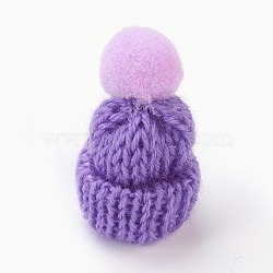 Décoration de chapeau en laine tressé manuel, diy artisanat décoration, Avec pom pom ball, Mediumpurple, 33~38x45~50mm(AJEW-L066-B02)