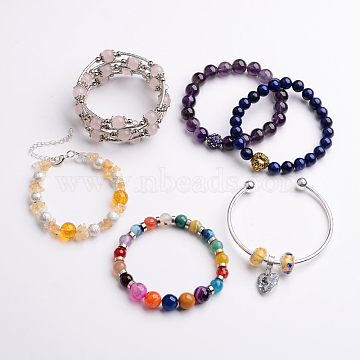 Fashionable Festival Ideas for Family Mixed Bracelets, Vary in Materials and Colors, Mixed Color, 53~61mm(BJEW-JB02155)