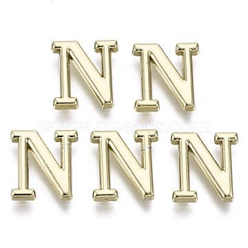 Alloy Cabochons, Cadmium Free & Nickel Free & Lead Free, Letter, Letter.N, 11x10x1.5mm(PALLOY-S125-096N-B-NR)