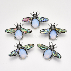 Opalite Broochs/Pendants, with Rhinestone and Alloy Findings, Abalone Shell/Paua Shelland Resin Bottom, Bee, Antique Silver, 36x56.5x14mm, Hole: 7x4mm; Pin: 0.7mm(X-G-S353-08N)