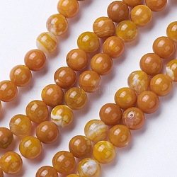 Natural Agate Beads Strands, Dyed & Heated, Grade A, Round, Goldenrod, 6mm, Hole: 1mm; about 62pcs/strand, 14.9''(38cm)