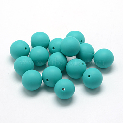Food Grade Eco-Friendly Silicone Beads, Chewing Beads For Teethers, DIY Nursing Necklaces Making, Round, Dark Turquoise, 8~10mm, Hole: 1~2mm(X-SIL-R008A-06)