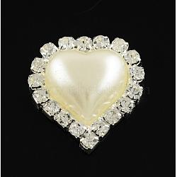 Brillant coeur flatback laiton abs plastique imitation cabochons de perles, avec cristal strass grade A, de couleur métal argent, blanc crème, 23.5x21.5x6.5mm(RB-S020-09)