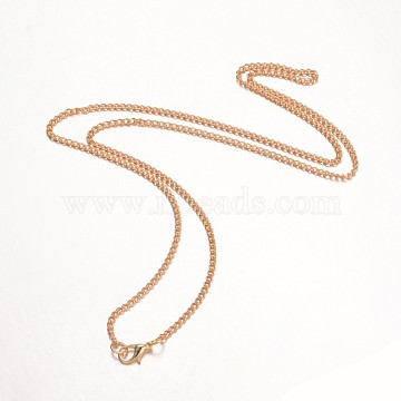 Iron Necklace Making, Twisted Curb Chain, with Alloy Lobster Clasp, Light Gold, 24.33 inches(X-MAK-K002-05KCG)