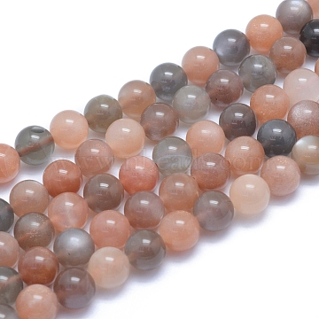 Natural Sunstone Beads Strands, Round, 8~8.5mm, Hole: 0.8mm; about 50pcs/strand, 15.55inches(39.5cm)(G-L552H-04B)
