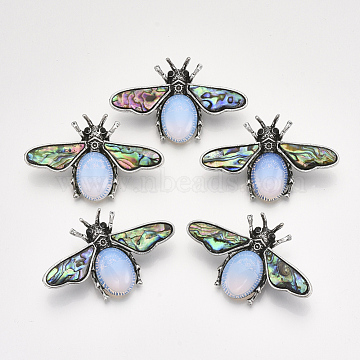 Opalite Broochs/Pendants, with Rhinestone and Alloy Findings, Abalone Shell/Paua Shelland Resin Bottom, Bee, Antique Silver, 36x56.5x14mm, Hole: 7x4mm, Pin: 0.7mm(X-G-S353-08N)