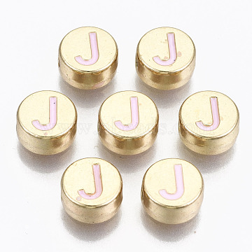 Alloy Enamel Beads, Cadmium Free & Lead Free, Flat Round with Initial Letters, Light Gold, Pearl Pink, Letter.J, 8x4mm, Hole: 1.5mm(X-ENAM-S122-029J-RS)