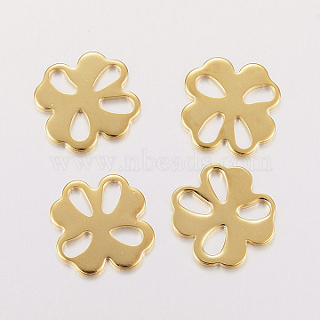 304 Stainless Steel Filigree Joiners Links, Clover, Golden, 15x15x1mm, Hole: 2~3x5mm(X-STAS-F162-06G)