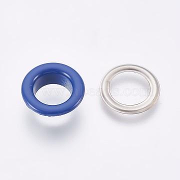 Iron Grommet Eyelet Findings, for Bag Making, Flat Round, Platinum, Royal Blue, Eyelet: 13.5x5mm, Inner Diameter: 8mm; Pad: 13x0.5mm(IFIN-WH0023-B10)
