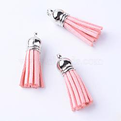 Décorations de pendentif pompon en daim, avec extrémités de cordon en plastique ccb, rose, platine, 35~37x10mm, Trou: 2.5~3mm(X-FIND-T002-A14)
