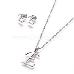 304 ensembles de bijoux en acier inoxydable, boucles d'oreille et colliers, alphabet, couleur inox, letter.e, 17.7 18.1 cm); (45~46 mm; Broche: 7.5~10x3.5~12 mm(X-SJEW-L141-052E)