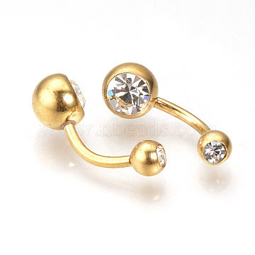 304 Stainless Steel Navel Rings, Belly Rings, Piercing Jewelry, Crystal, 23x8mm; Pin: 1.5mm(STAS-Q221-12G)