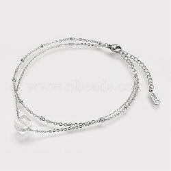 Bracelets de cheville en 304 acier inoxydable, perles de verre, Fermoirs de homard et chaînes d'allongement de fer, couleur inoxydable, 190mm(AJEW-K009-18P)