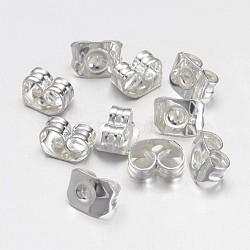 écrous en laiton, boucles d'oreille, plaqué argent, environ 4 mm de large, 5 mm de long, trou: 1 mm(X-EC550-S)