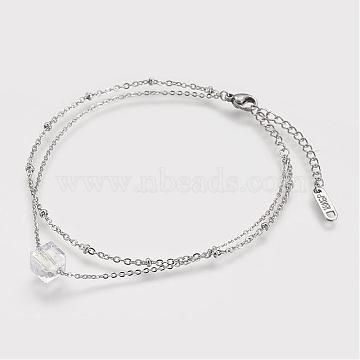 304 Stainless Steel Anklets, with Glass Beads, Lobster Clasps and Iron Extender Chains, Stainless Steel Color, 190mm(AJEW-K009-18P)
