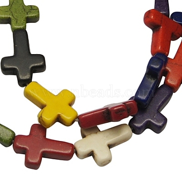 16mm Mixed Color Cross Howlite Beads